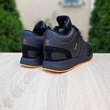 Чоловічі зимові кросівки в стилі Adidas INIKI чорні з помаранчевим, фото 10