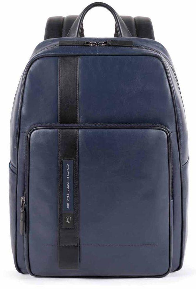 Кожаный городской рюкзак Piquadro Febo 17,5 л синий