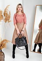 Модное молодежное замшевое платье персикового цвета, красивое женское платье длины миди.