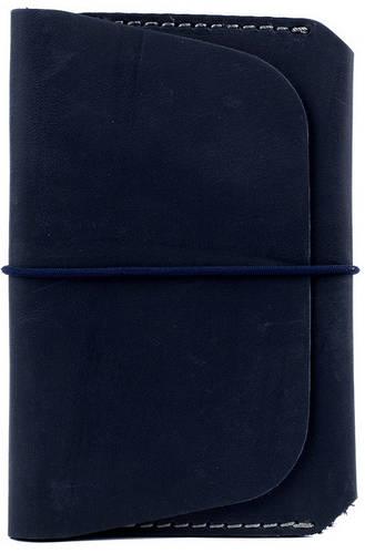 Мужская солидная кожаная обложка для документов на резиновой застежке Black Brier ОП-8-97 темно-синий