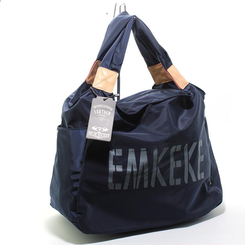 Сумка дорожная, спортивная, пляжная текстильная женская темно синяя Emkeke 915