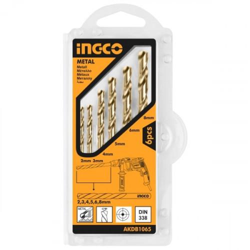 Набор сверл по металлу 6 шт 2-8 мм, блистер INGCO