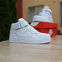Женские зимние кроссовки в стиле Nike Air Force белые высокие, фото 1
