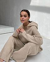 В'язаний Костюм жіночий з плетеним худі і широкими штанами кльош (р. S-L) 41mko1472, фото 1