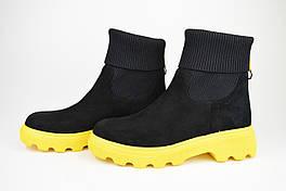 Ботинки демисезонные замш-стрейч Evromoda T01 черно-желтые