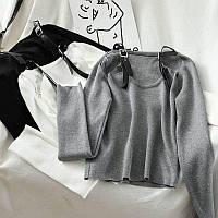 Кофта женская с открытыми плечами и кожаными ремешками на плечах (р. 42-44) 68dmde1015, фото 1