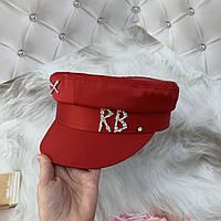 Жіночий картуз, кепі, кашкет RB атласний з камінням червоний, фото 1