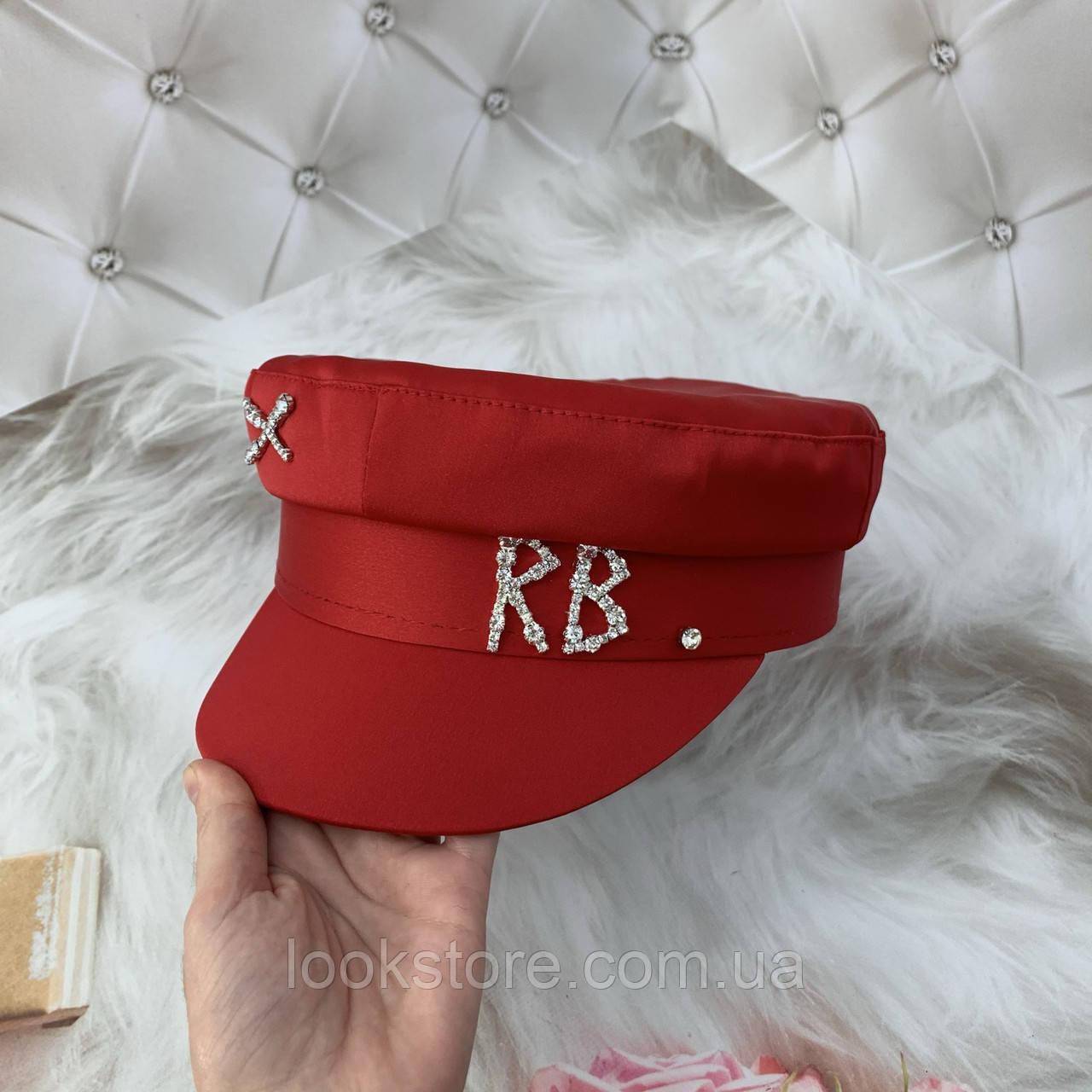 Жіночий картуз, кепі, кашкет RB атласний з камінням червоний