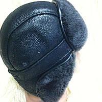 Мужская  ушанка из  натуральной овчины чёрный верх с серым мехом
