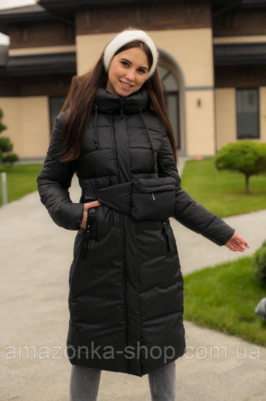 Куртка женская удлиненная с удобной сумочкой зима 2020-2021