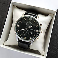 Чоловічі наручні годинники Emporio Armani (Армані) на шкіряному ремінці - срібло з чорним циферблатом - код 1789, фото 1