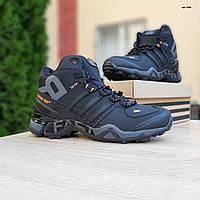 Мужские зимние кроссовки в стиле Adidas Terrex черные с оранжевым
