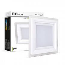 Встраиваемый светодиодный светильник Feron AL2111 6W квадрат белый 480Lm 5000K, фото 2