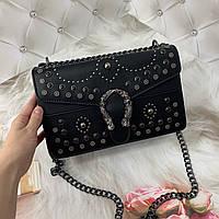 Маленькая женская сумка с заклепками в стиле Гуччи черная, фото 1