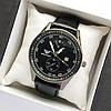 Чоловічі наручні годинники Emporio Armani (Армані) чорного кольору на шкіряному ремінці - код 1791