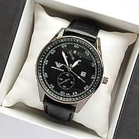 Мужские наручные часы Emporio Armani (Армани) черного цвета на кожаном ремешке  - код 1791
