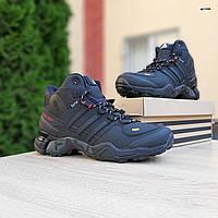Мужские зимние кроссовки в стиле Adidas Terrex черные с красным, фото 1