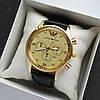 Чоловічі наручні годинники Emporio Armani (Армані) золотого кольору на шкіряному ремінці - код 1792