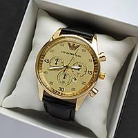 Чоловічі наручні годинники Emporio Armani (Армані) золотого кольору на шкіряному ремінці - код 1792, фото 1