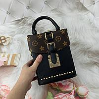 Маленькая женская сумка Бочонок в стиле LOUIS VUITTON черная, фото 1