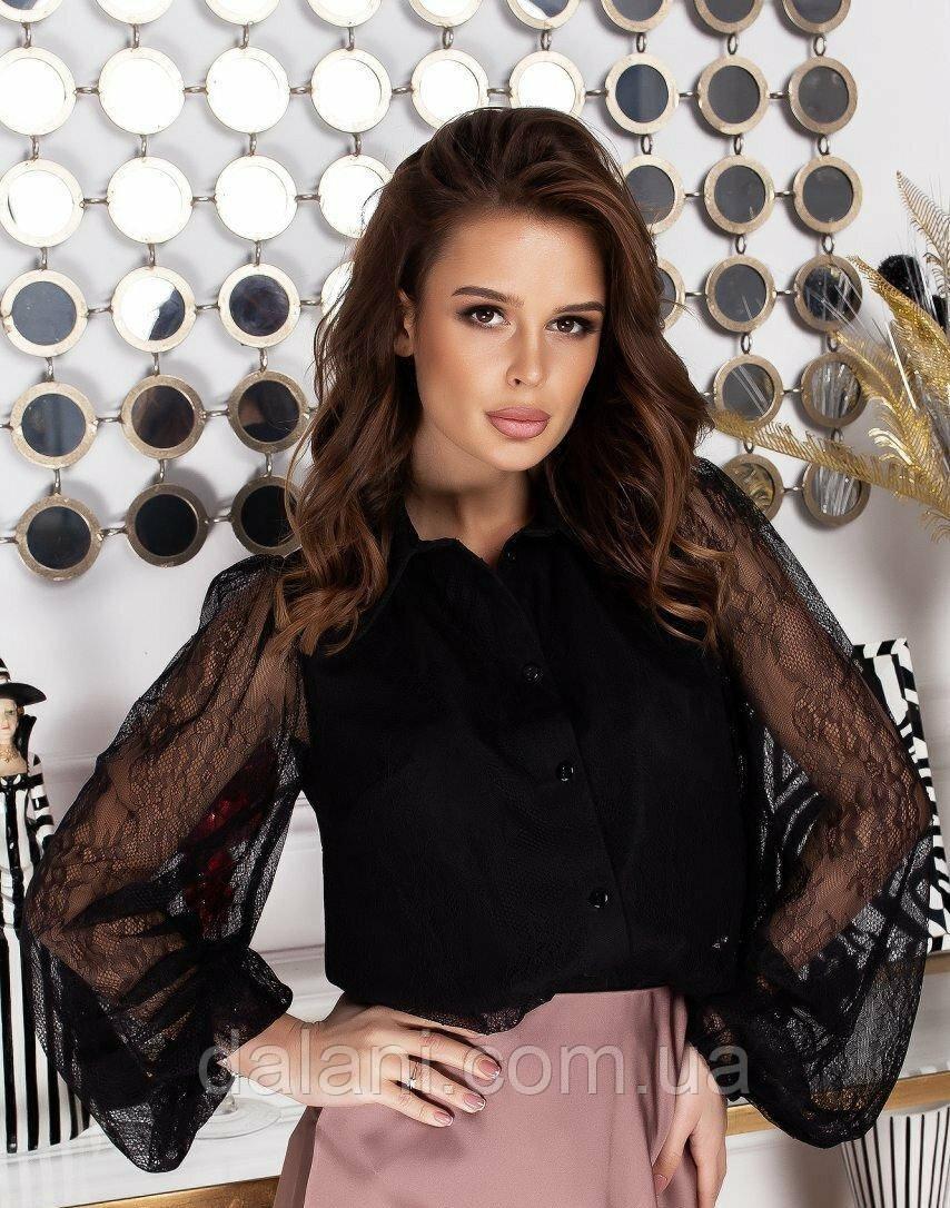 Женская черная блуза с кружевом и объемными рукавами