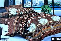 Двоспальне постільна білизна Ранфорс 3D - на бузковому ромашки