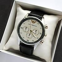 Мужские наручные часы Emporio Armani (Армани) на кожаном ремешке  - серебро серым се циферблатом - код 1793
