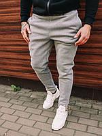 Спортивные штаны мужские зимние качественные теплые на флисе серые