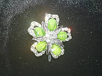 "Декоративная пряжка  ""зеленый цветок"" цвет метала ""серебро"" L-4см, фото 1"