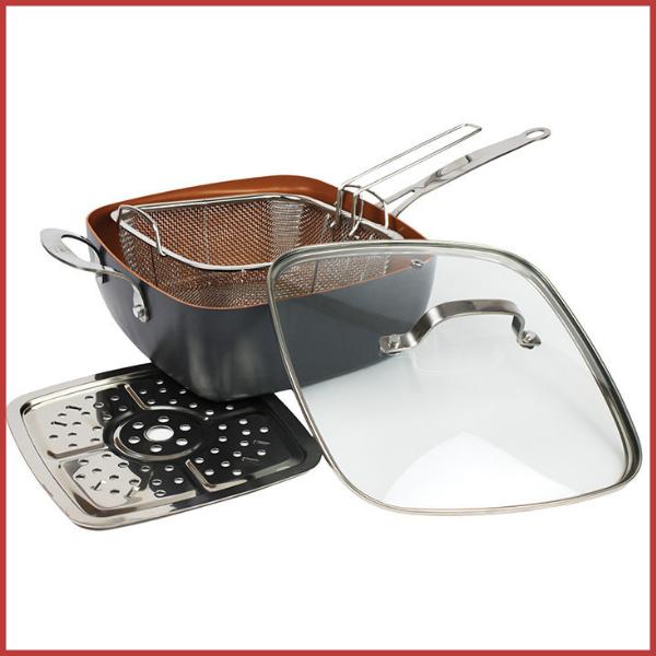 Сковорода с крышкой фритюрница-пароварка с антипригарным покрытием Top Kitchen