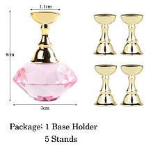 Підставка-тримач для типс з кристалом, колір рожевий