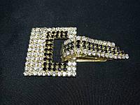 """Декоративная застежка для шубы. Клипса для шубы цвет метала """"золото"""" L-8см, фото 1"""