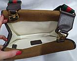 Женская сумка-клатч Gucci из нубука с сертификатом качества 24*17 см, фото 4