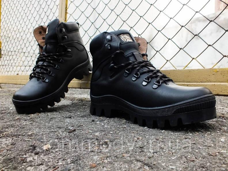 Ботинки мужские из кожи черного цвета Brian зимние