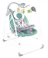 Электронные качели шезлонг для младенцев 3 в 1 JOY с каруселью и музыкой бирюзовые с пультом д/у от 0 месяцев