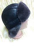 Мужская  ушанка из  натуральной овчины тёмно коричневая, фото 4