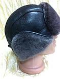 Мужская  ушанка из  натуральной овчины тёмно коричневая, фото 5