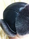 Мужская  ушанка из  натуральной овчины тёмно коричневая, фото 7