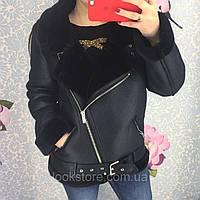 Женская теплая дубленка авиатор Зара черная