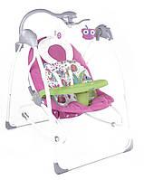 Электронные качели шезлонг для младенцев 3 в 1 JOY с каруселью и музыкой розовые с пультом д/у от 0 месяцев