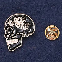 Брошь Череп черная эмаль украшения на одежду 28*24 мм Mir-33467