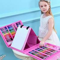 Детский творческий набор для рисования 208 предметов в удобном кейсе с ручкой плюс Мольберт, фото 1