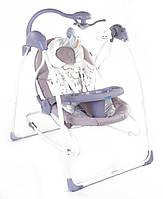 Электронные качели шезлонг для младенцев 3 в 1 JOY с каруселью и музыкой бежевые с пультом д/у от 0 месяцев