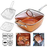 Сковородка с фритюрницей COPPER PAN квадратная с медным покрытием 24 см, ручка нержавейка с пароваркой, фото 1