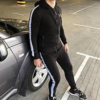 Мужской брендовый спортивный костюм Armani Striped Black