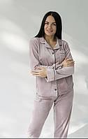 Комплект велюровый женский с рубашкой на пуговицах