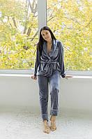 Комплект велюровый женский с рубашкой