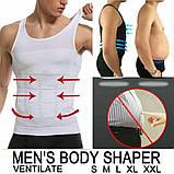 Мужская майка Just One Shapers утягивающая для похудения (Цвет:белый) (в ящике 200 шт)., фото 2