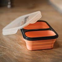 Силиконовый складной контейнер для первых и вторых блюд всегда с собой. Цвет персик, в комплекте ложка - вилка