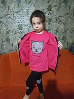 Детский стильный спортивный костюм для девочки принт Котик тройка (Турция) , 104-110 рост